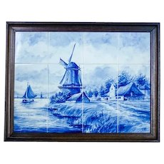 Dutch Landscape Made of Ceramic Tiles – Faience from Delft, Circa 1960