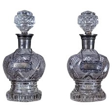 Pair of 19th-Century Crystal Liquor Decanters