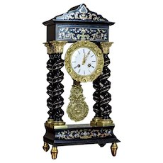 19th-Century Encrusted Mantel Clock