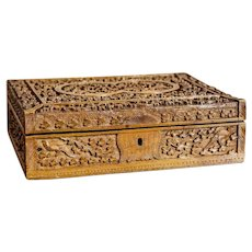 20th-Century Carved Wooden Coffret