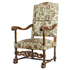 19th-Century Upholstered, Carved Armchair