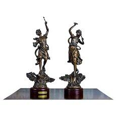 Pair of 20th-Century Bronzed Zamak Figurines