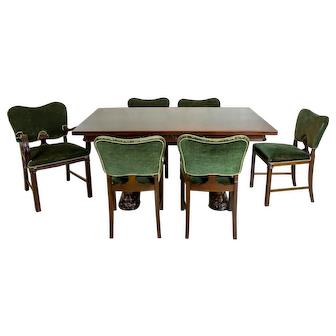 Mahogany Extendable Table with Chairs, Circa the 1960s