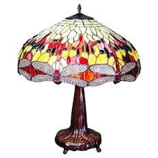 20th-Century Tiffany Stained Glass Lamp