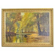 """Autumnal Landscape,"" an Oil Painting Signed by  A. Johansen -- Circa 1920"