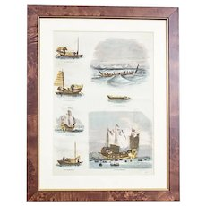 20th-Century Colorful Print in a Frame – Ships