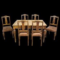 Oak Art Nouveau Table with Chairs