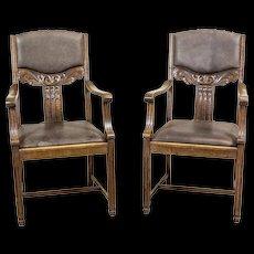 Oak Armchairs from the Interwar Period