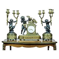 French Mantel Clock Set, Circa the 19th Century