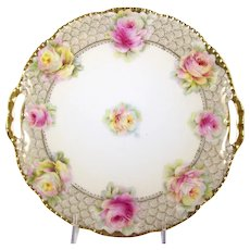 Porcelain Cake Plate Pink Roses Beyer & Bock 1905-31 Double Handle Tray - Red Tag Sale Item