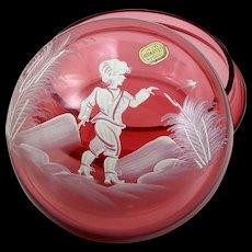 "Cranberry Glass Vanity Jar Trinket Box Hand Painted Boy w/ Bird 5 1/2"""