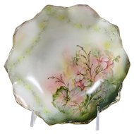 Small RS Prussia Footed Bowl Pink Flowers Scalloped Rim 1904-1938