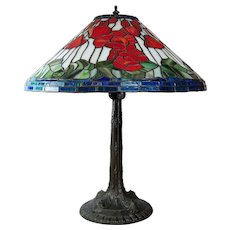 """Slag Glass Table Lamp Leaded Floral Shade White Metal Base 24"""""""