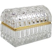 Large Antique French Crystal Jewelry Casket Dome Top Smooth Gilt Metal Mounts
