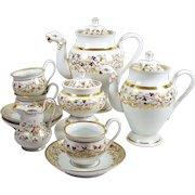 Antique Old Paris Teapot Tea Set 2 Figural Spout Pots 3 Tea Cups Cream Sugar