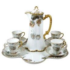Rare Antique Chocolate Pot Haviland Feu de Four Set w/ Tray 4 Demitasse Cups