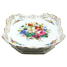 Antique French Musical Cake Plate Old Paris Pastry Tray Dresden Style Flowers