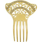 Vintage Jeweled Hair Comb Striped Celluloid Crystal Rhinestones Arched Filigree