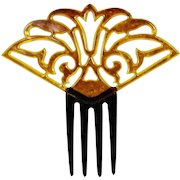 """Vintage Hair Comb Faux Tortoise Shell Celluloid Stylized Tulip Flower 6"""" x 6"""""""