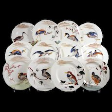 Vintage French Faience Luncheon Plates Set 12 Birds & Flowers K & G Luneville