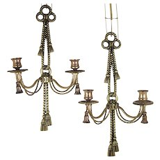 Brass Wall Sconce Double Candle Holders Twisted Rope Bows with Tassels