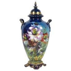 "Antique Vintage Royal Bonn Vase Urn w/ Lid 9 3/4"" Hand Painted Flowers 1890-1920"