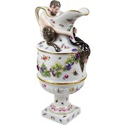 Vintage Capodimonte Style Ewer w/ Satyr Faun Hand Painted Fruit Floral Insects