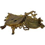 Vintage Figural Brass Inkwell Guitar or Mandolin with Sheet Music Tray Inkstand