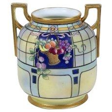 Antique Noritake Nippon Vase Hand Painted Fruit Basket Matte Finish Gold Trim - Red Tag Sale Item