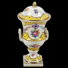 Vintage Miniature Sevres Style Urn w/ Lid Hand Painted Floral Double L Mark