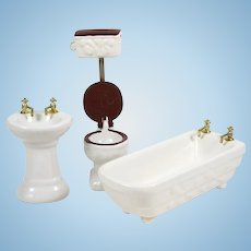 Vintage Dollhouse Bathroom Furniture Fixtures 3 Pce Porcelain Tub Sink Toilet