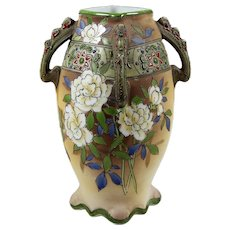 Antique Nippon 4 Handled Vase Hand Painted Flowers Green & Red Moriage Noritake