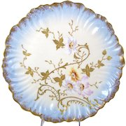 Antique Limoges Charger Plate Hand Painted Flowers Gilt Enamel Klingenberg Dwenger