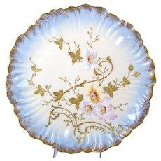 Antique Limoges Charger Plate Hand Painted Flowers Gilt Enamel Klingenberg Dwenger