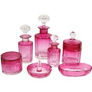 Vintage Cranberry Glass Dresser Vanity 7 Pce Set Perfumes Powder Box Ring Holder