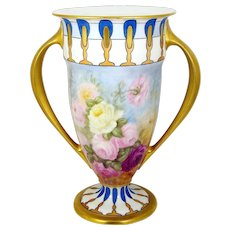 """Lenox Belleek Vase Hand Painted Roses Signed 12"""" Footed Trophy Style Lenox Second"""