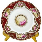 """Antique Nippon Plate Hand Painted Roses 7 1/2"""" Gold Bead Moriage 1906"""