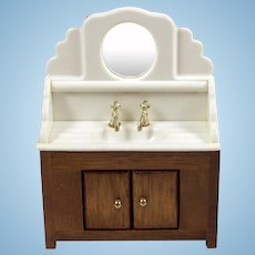 Vintage Dollhouse Bathroom Vanity Sink Cabinet with Storage and Mirror
