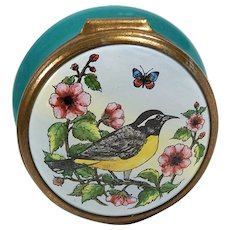 Vintage Bilston and Battersea Halcyon Enamel Trinket Pill Ring Box Bird & Flowers