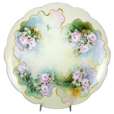 Antique Limoges Charger Plate Hand Painted Pink Roses Artist Signed Scalloped Rim