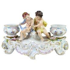 Vintage Sitzendorf Figural Porcelain Double Inkwell Figurine Rococo Style Putti & Urns