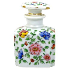 Vintage Porcelain Perfume Scent Bottle Hand Painted Pink and Blue Flowers