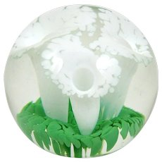 """Vintage Glass Paperweight White Calla Lily Flowers on Green Leaves in Clear Glass 3 1/4"""""""