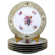 Vintage Dinner Plates Dresden Flowers Gold Scroll Borders Set of 6 Tirschenreuth 10 3/4