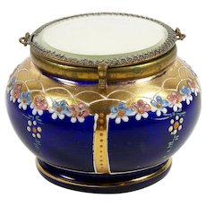 Vintage Enameled Glass Powder Jar Trinket Box Mirrored Lid Flowers on Cobalt