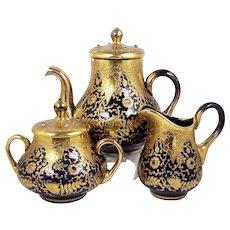 Vintage Jeweled Glass Teapot Set Gold Floral on Cobalt Cream Pitcher & Sugar Bowl