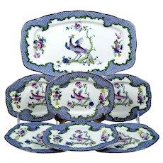 Vintage Dessert Sandwich Set Hand Painted Pheasant Tray 6 Plates Bisto England
