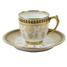 Jean Pouyat Limoges Demitasse Tea Cup Gilt Floral Black on Gold Trim 1891-1932