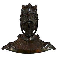Vintage Metal Figural Owl Ashtray w/ Match Holder Art Deco Era 1920s-1930s