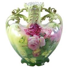 Vintage Porcelain Vase Pink Roses on Multi Color Ground Royal Bayreuth 1902-30